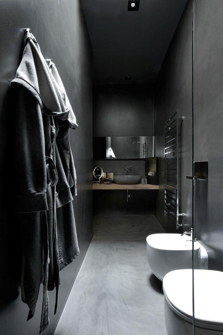 Dark grey bathroom