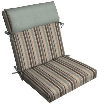 Patio Cushion Ideas   Hampton Bay Seaside Stripe Pillow Top Outdoor Chair  Cushion   The Home