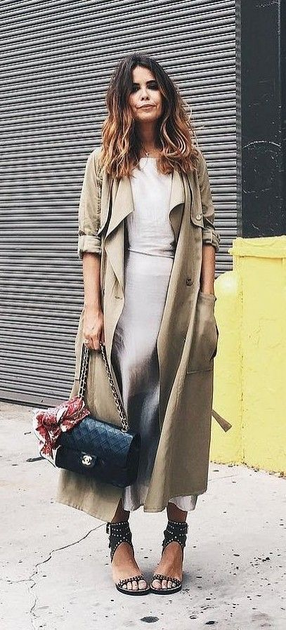 midi dress. gold + silver. spring summer style. loose trench coat.