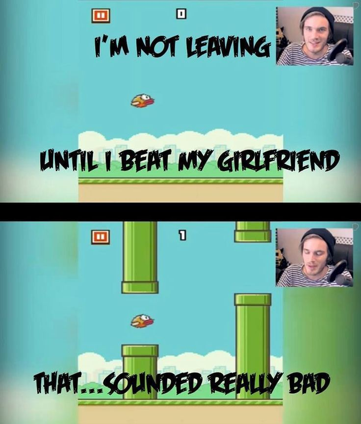 Pewds! In case you're wondering, this is a game he's trying to beat Marzia in. The infamous Flappy bird