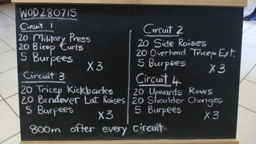The warm up is a 800m run. Men use 10kg and 8kg weights. Women use 8kg and 6kg weights. 4km will be covered after the workout.