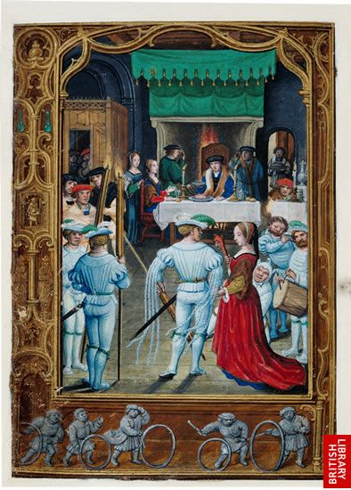 "1540s book of hours, ""The Golf Book"" by Flemish artist Simon Bening. February image shows nobles at a feast."