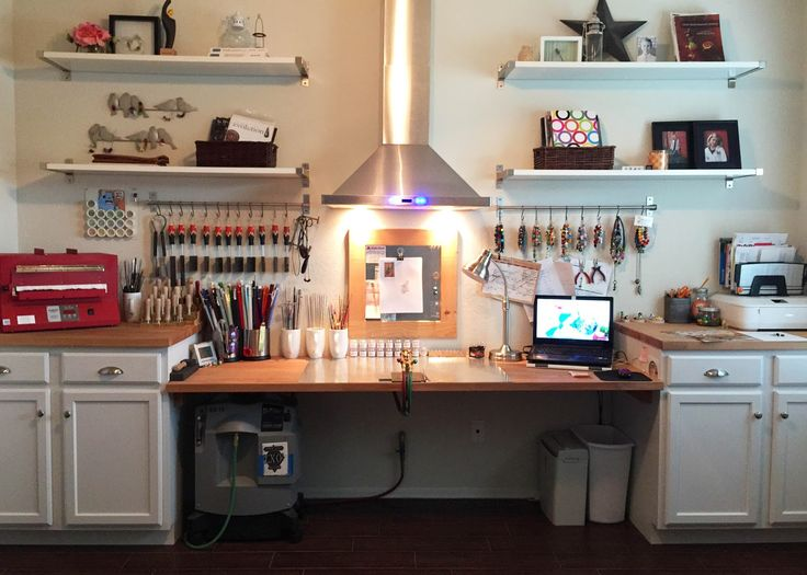 Heather Sellers Art Glass: The Studio ... I would love for my studio to look this neat and planned out