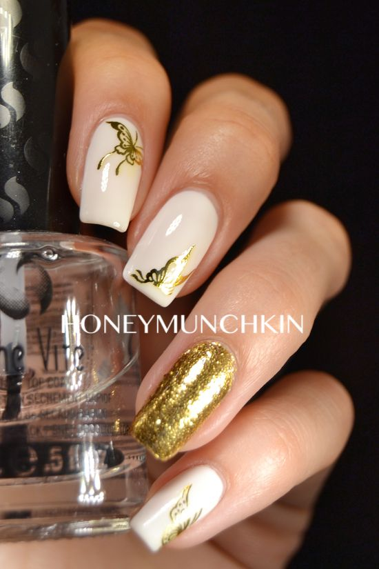 Gold Butterfly water decals from BornPrettyStore.com by honeymunchkin.com