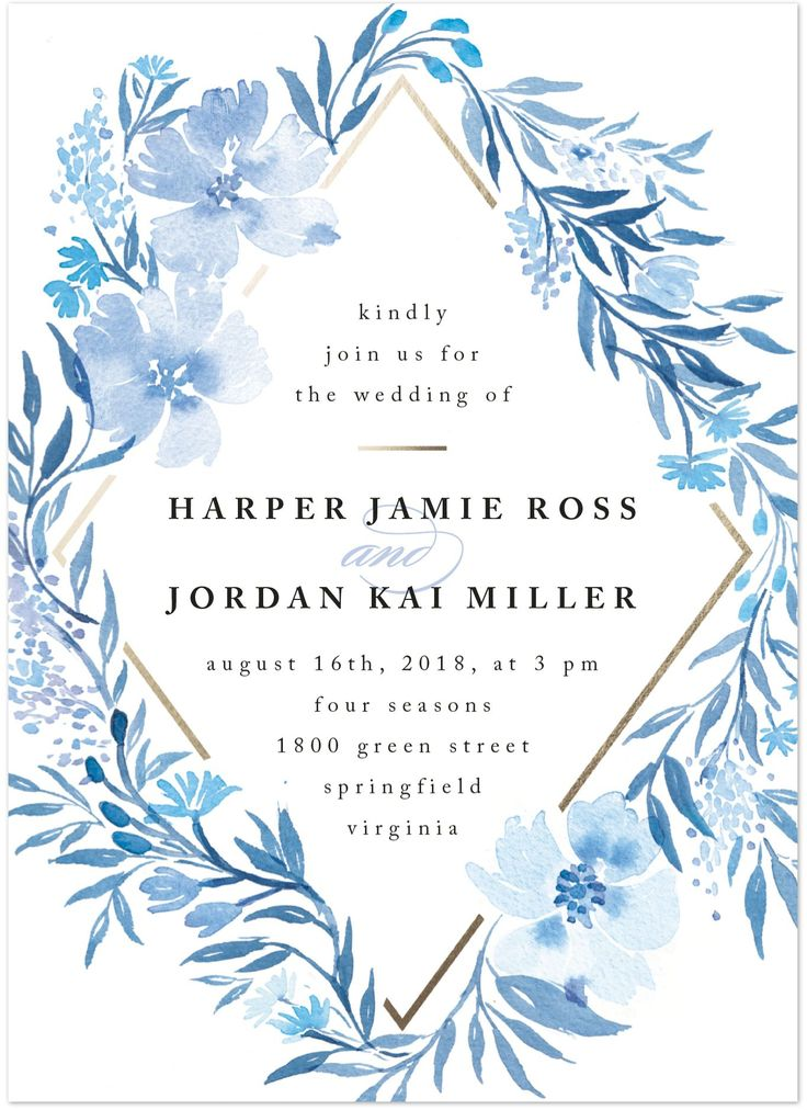 """Poetic Blue"" - Customizable Wedding Invitations in Blue or White by Qing Ji"
