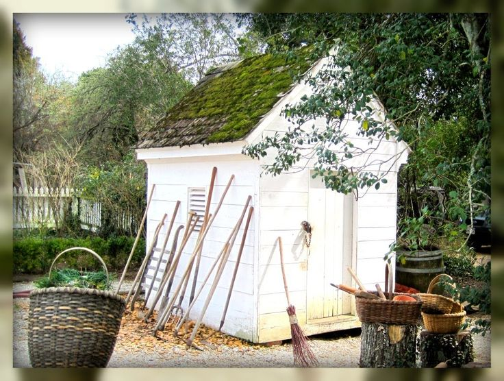garden shed in dads garden in colonial williamsburg