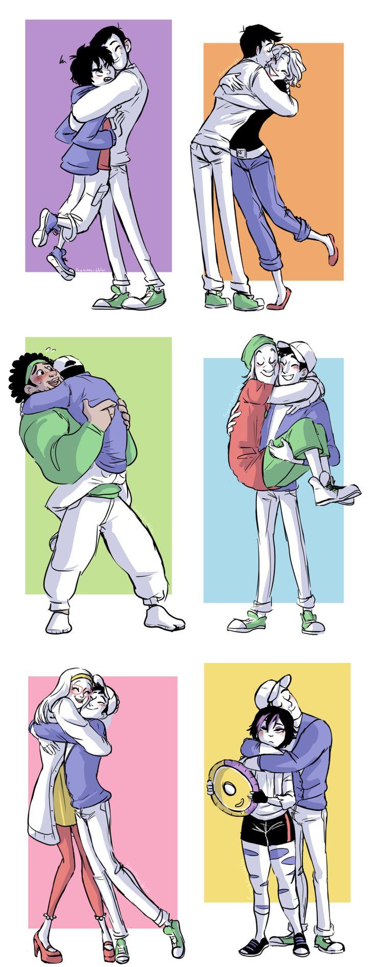 Jaja. Abrazando a sus amigos.
