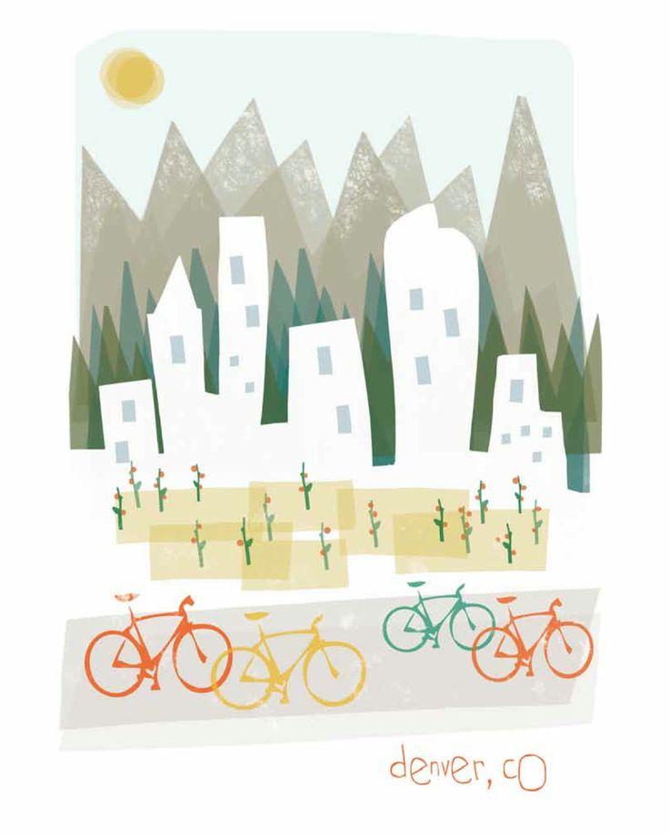 Denver art print illustration - 8x10 - mountain city buildings poster wall decor. $14.00, via Etsy.