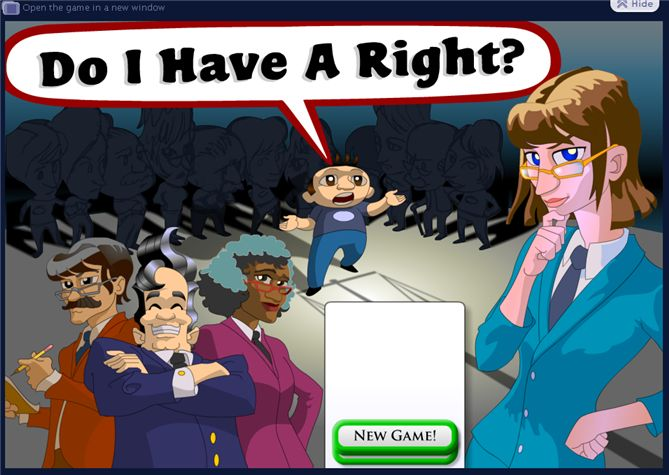 iCivics. This on-line game, part of a civics site founded by Justice Sandra Day O'Connor, really tests users' understanding of Constitutional rights. Students defend clients in court and score points for their successes. This can be played on individual computers in the classroom or on a single computer with smart board or projector. Also included are teaching materials and lesson plans for civics-related topics ranging from budgets to civil rights.