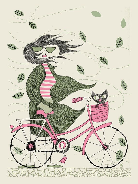 I had to buy this!  I love pink and have a pink bike and dream for my kitty to be in the basket.... but no.. she wont do it :( Fall Hipster Girl Bike by methanestudios on Etsy, $20.00