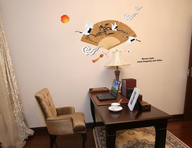Wall Decals Yyone Korean Style Crane Longevity And Riches Red Crowned Fan