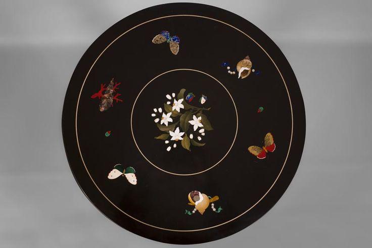 Rare pedestal table in pietra dura (Reference 10665) - Available at Galerie Marc Maison #marcmaison #malachite #frenchantiques #19thcentury #fleamarket #antique #malachite