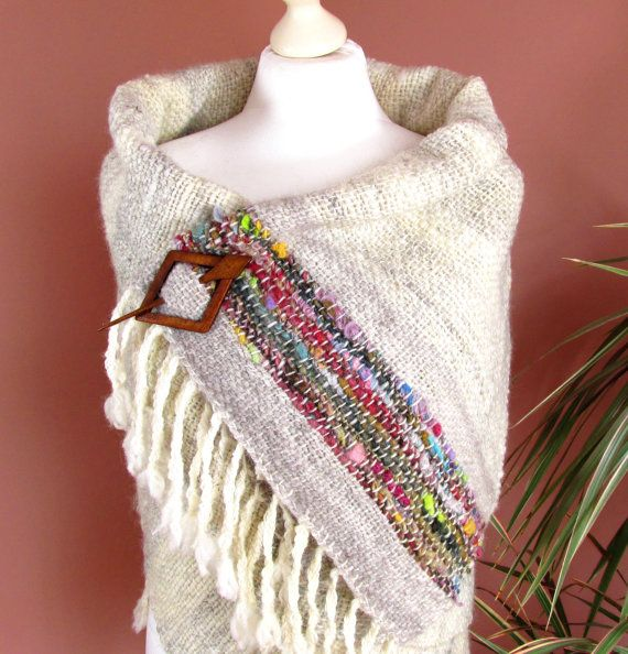 Large Handwoven Wrap ShawlCozy Shawl Made of von PastoralWool