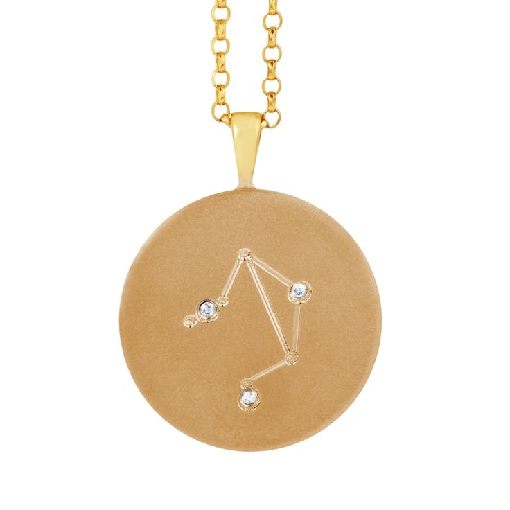 Gold Star Sign Constellation Diamond Necklace  zodiac constellation jewelry gifts