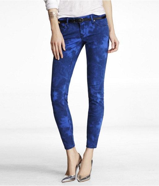 Express Womens Stella Printed Ankle Jean Legging Blue Tie Dye
