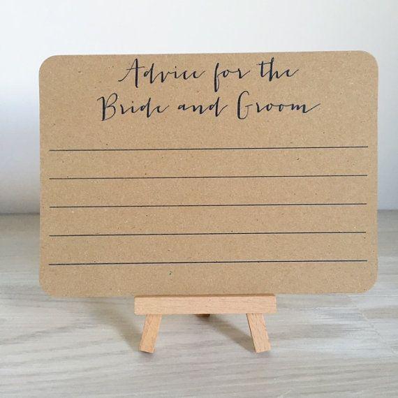 Diese Karten sind eine gute Möglichkeit, ein wenig Spaß zu Ihrer Hochzeit und eine fantastische Alternative zu einem Gästebuch hinzufügen. Lege sie auf den Tischen der Gäste oder lassen Sie auf einem speziellen Tisch für Ihre Gäste zur Selbsthilfe.  Die Karten können Ihre Freunde & Familie, mehr als eine Zeile oder 2 in der Braut und Bräutigam und ein fantastisches Andenken für Sie zu schreiben!  Hohe Druckqualität auf hochwertigen Kraft Cardstock - ganz individuell für Sie und Ihre Farbg...