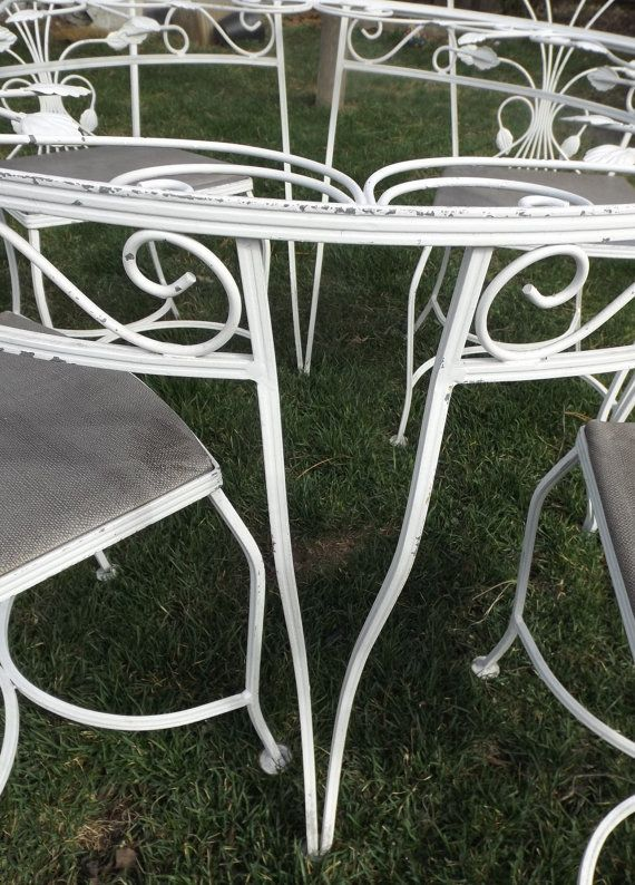 White Wrought Iron Outdoor Furniture Part - 37: Vintage Wrought Iron White Garden Patio Table 4 By EarlyGarageSale