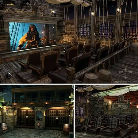 Pirates of the Caribbean Home Theater.......yes I am a big enough nerd.....if I were Bill Gates this wouldd totally be in my house