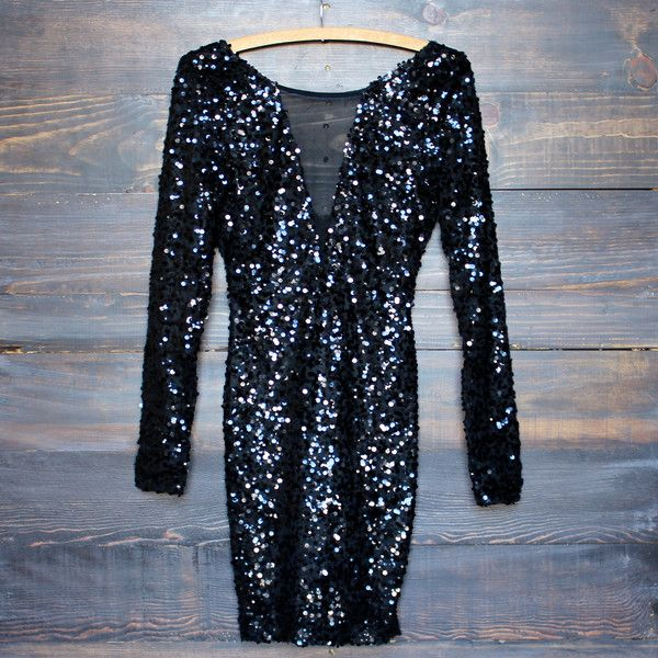 dazzling black sequin party dress