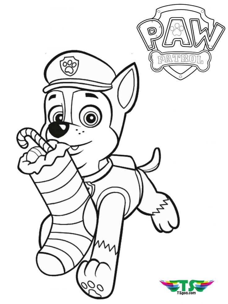 Paw Patrol Merry Christmas coloring page (With images ...