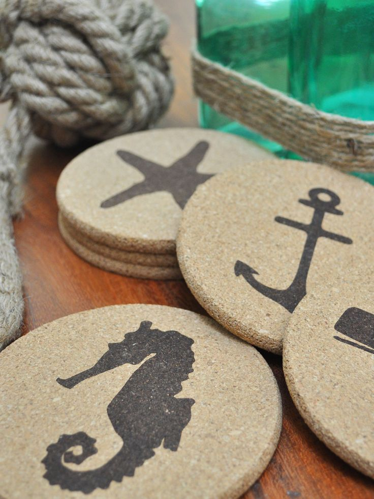 LOVE these nautical/beach themed cork coasters. They're the perfect addition to any coastal (or lake house!) decor this summer.