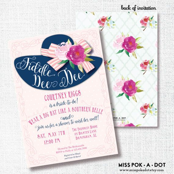 FIDDLE DEE DEE big hat bridal shower invitation by misspokadot