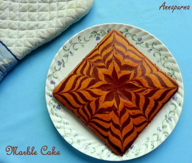 Annapurna: Eggless Butterless Marble Cake (Zebra Cake) Recipe
