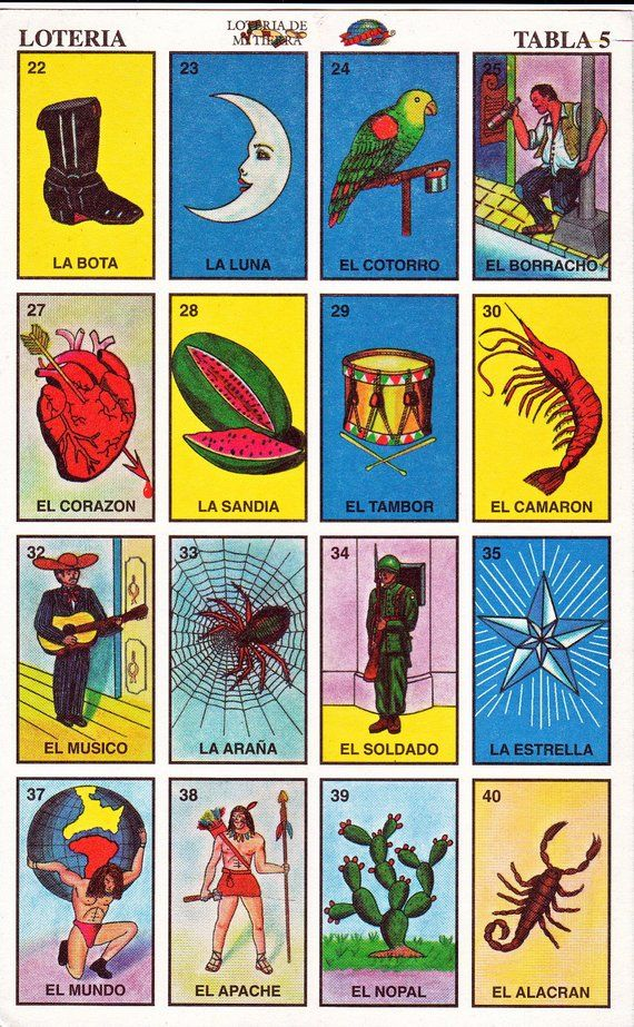 Mexican loteria cards, the complete set of 10 tablas