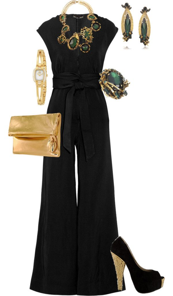 """Jumpsuits:  """"A Hot Night Out"""" by sianfairy on Polyvore. How high of a heel will I have to wear to pull this one off?"""
