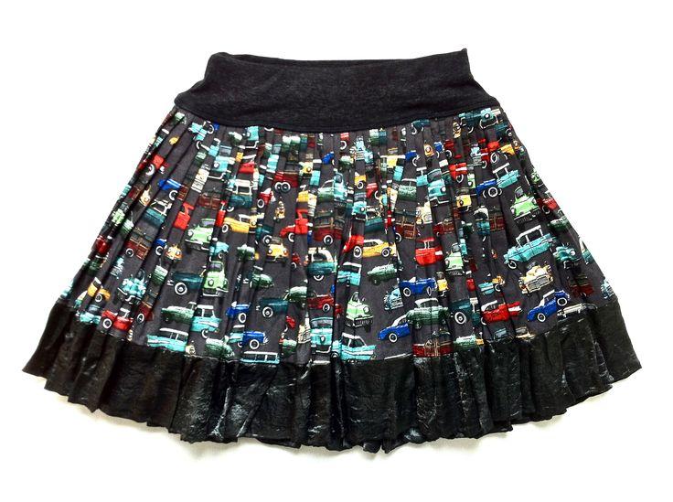 Vintage Car Print Cotton Skirt w/ Charcoal Satin Trim | KAF KIDS : 51 Mackelvie Street, Grey Lynn, Auckland. #kidsfashion  http://kafkids.co.nz/