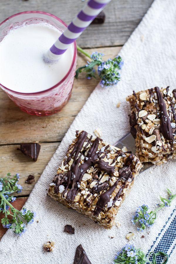 Healthy No-Bake Salted Dark Chocolate Chunk Oatmeal Cookie Bars   halfbakedharvest.com