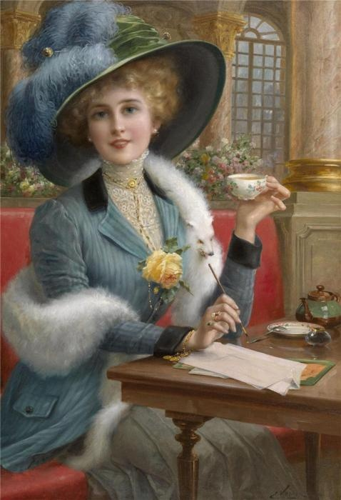 Victorian lady with a cup of tea while writing a letter.