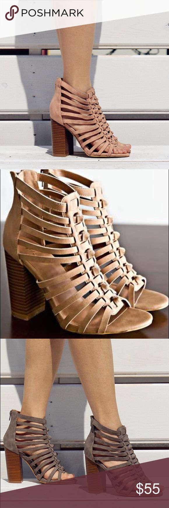 Ladies high top straps chunky heels sandal. Rose Summer is here! Walk in style with this stylish sandal, super comfy, hot color, brand new in box, man made material, 3-4 inches hells, true to size. Available grey color as well. NO TRADES shoeroom21 boutique Shoes Heels
