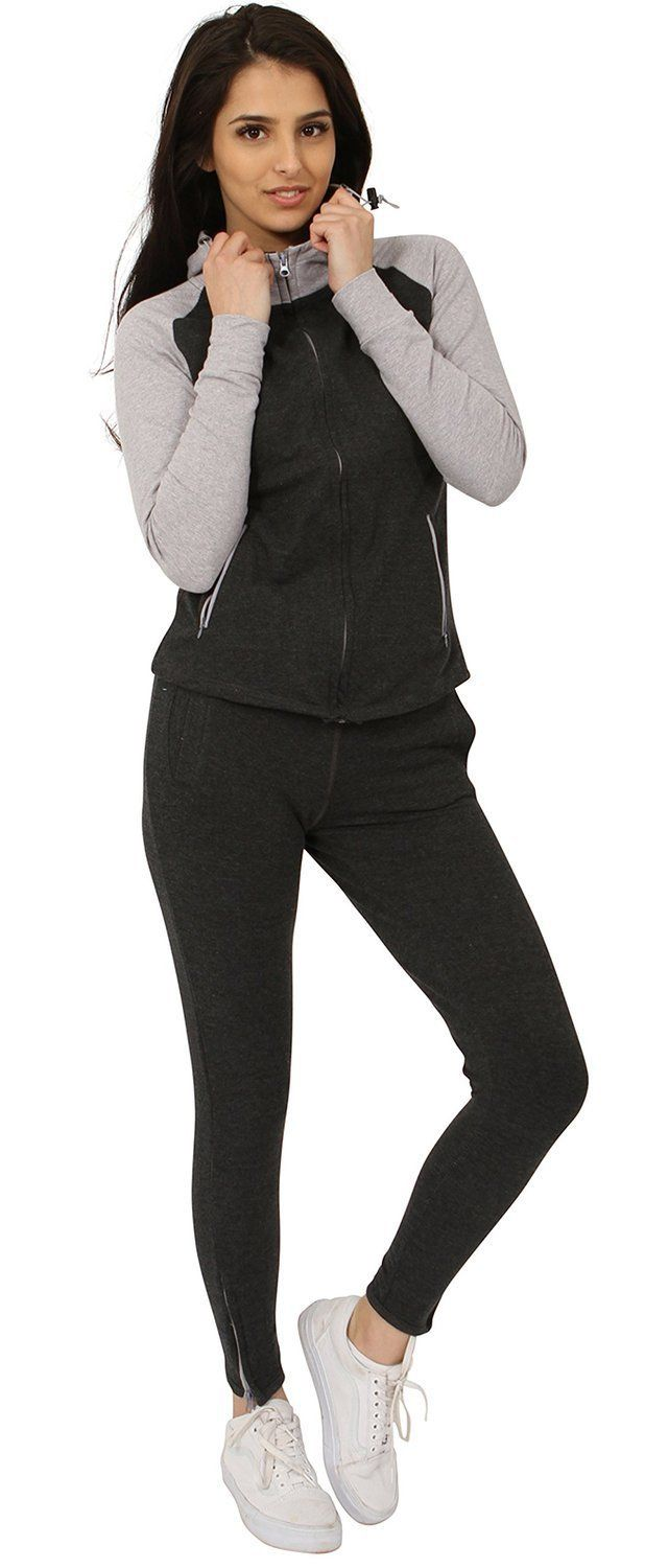 Juicy Trendz Womens Tracksuit Ladies Sweatshirt Running Jogging Suit Charcoal M. Amalgamation of both quality & value from new comfort range. Blend of Cotton along with polyester for additional comfort. Equipped with Zip for easy wear & pockets to keep your belongings safe. Supreme quality elasticated material Cuffs & Hem. Perfect for Jogging, Gym, Relax Wear & other sports wear.