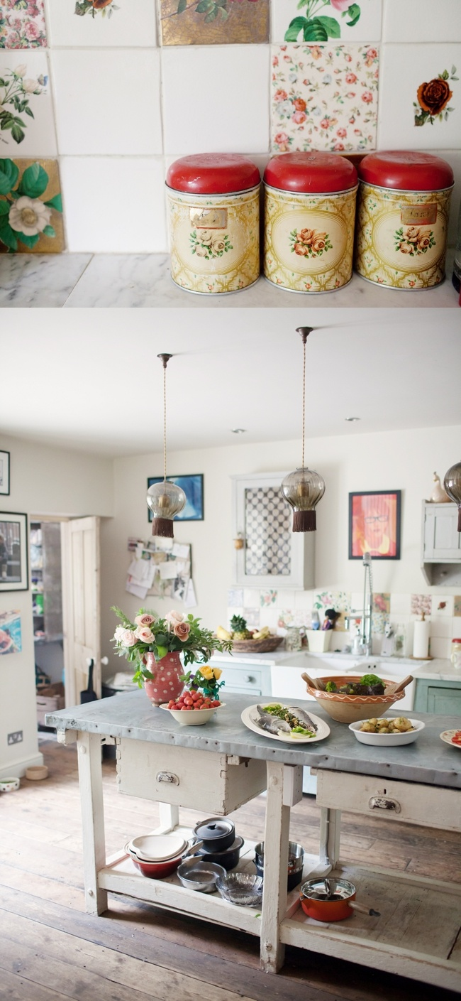 The floors, the island. Bright but not overly girly. Not a fan of the tiles in the first picture. Rustic vintage kitchen -   Emma Case Photography