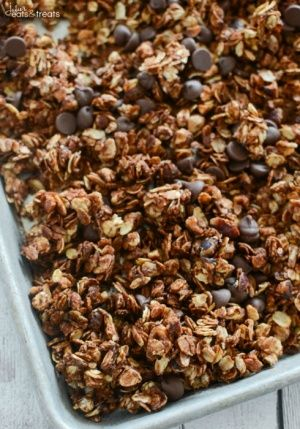 Nutella Granola Recipe ~ Easy Homemade Granola Recipe That Anyone Can Make! Oats and Chopped Hazelnuts Coated in Nutella and Loaded with Chocolate Chips! Prefect for Breakfast or a Healthy Snack! ~ http://www.julieseatsandtreats.com