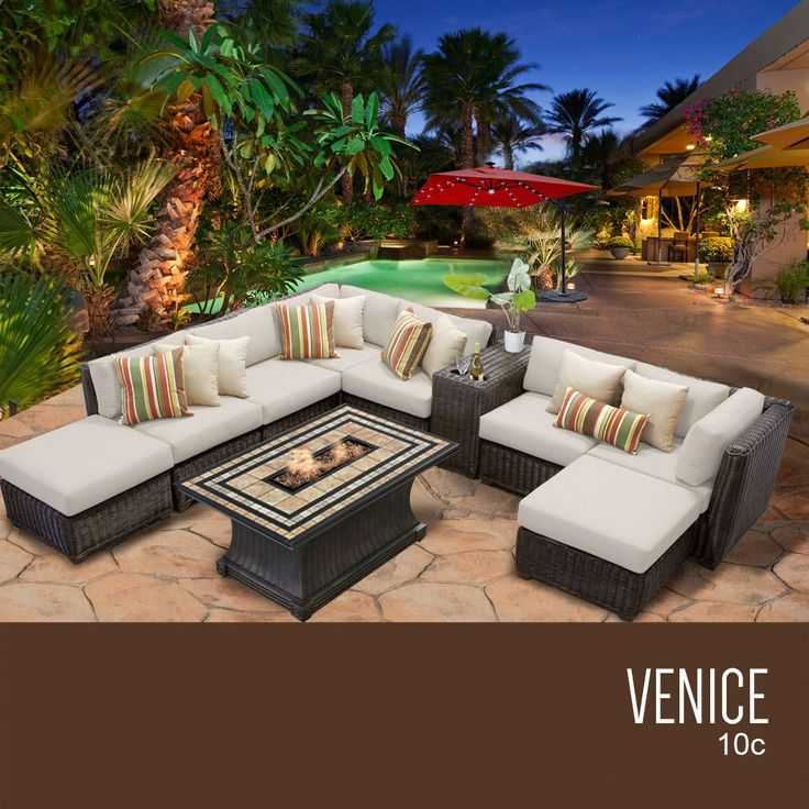 TKC Venice 10 Piece Outdoor Wicker Patio Furniture Set 10c, Beige