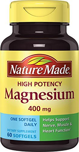 Nature Made High Potency Magnesium 400 Mg, 60-Count  Helps nerve and muscle function  400 MG  No artificial flavors  60 Liquid Softgels