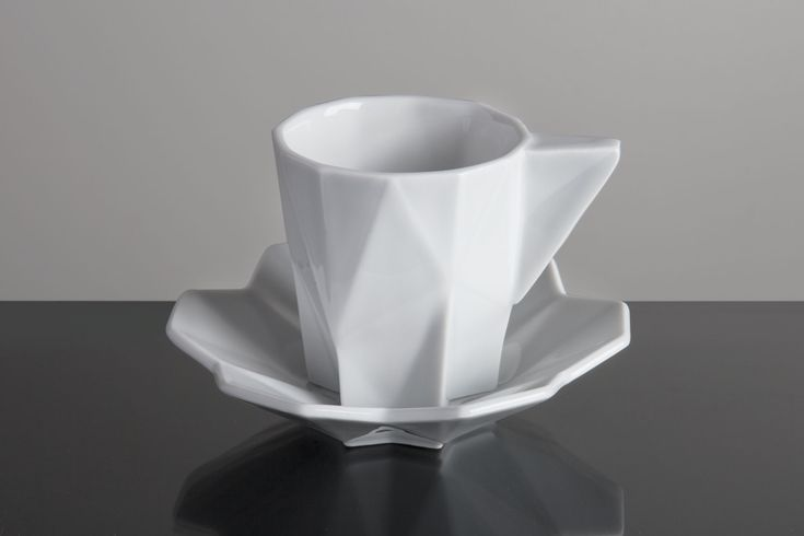 Geometric Espresso Cup, white porcelain, design year 2015
