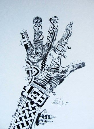 Surreal Hand Drawing - pen and ink - Conway High School Art Project
