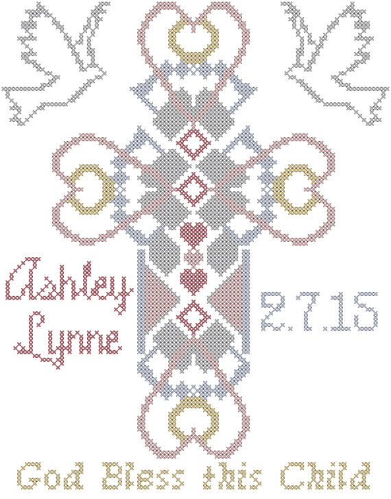 Baptism cross stitch pattern religious