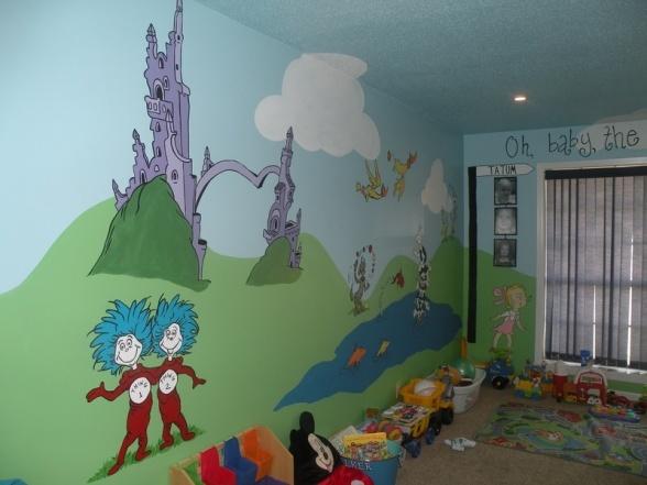 Dr seuss playroom dr seuss nursery pinterest for Dr seuss nursery mural