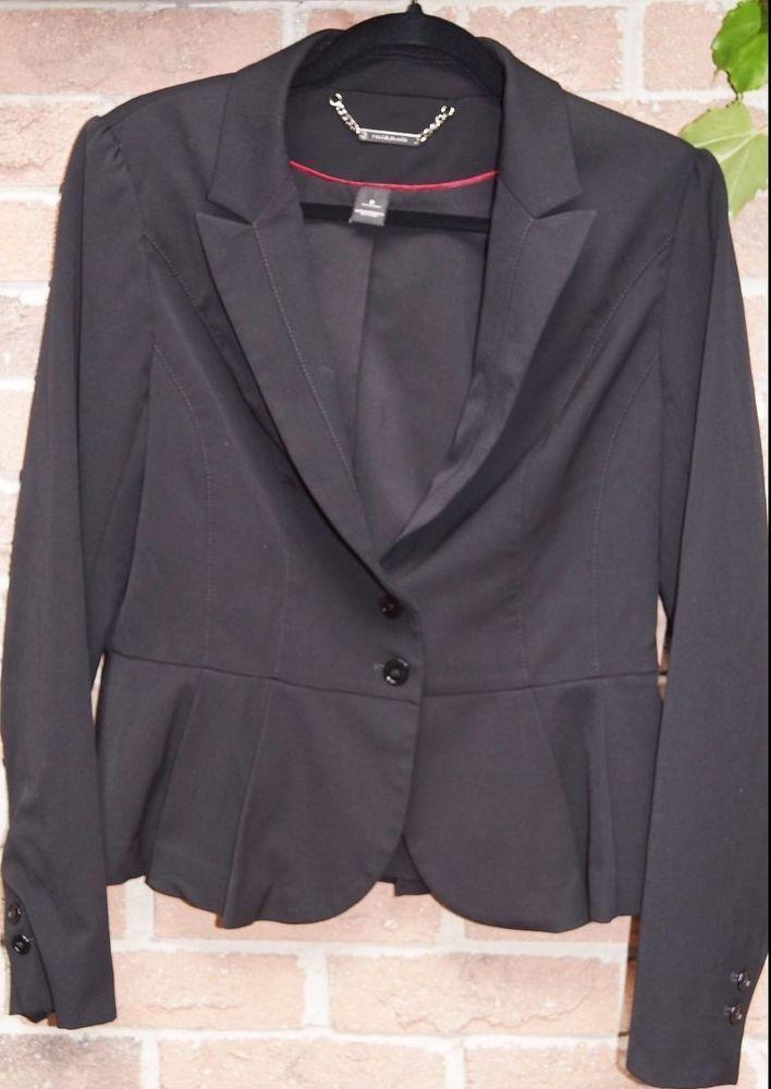 White House Black Market BLACK peplum blazer jacket size 8
