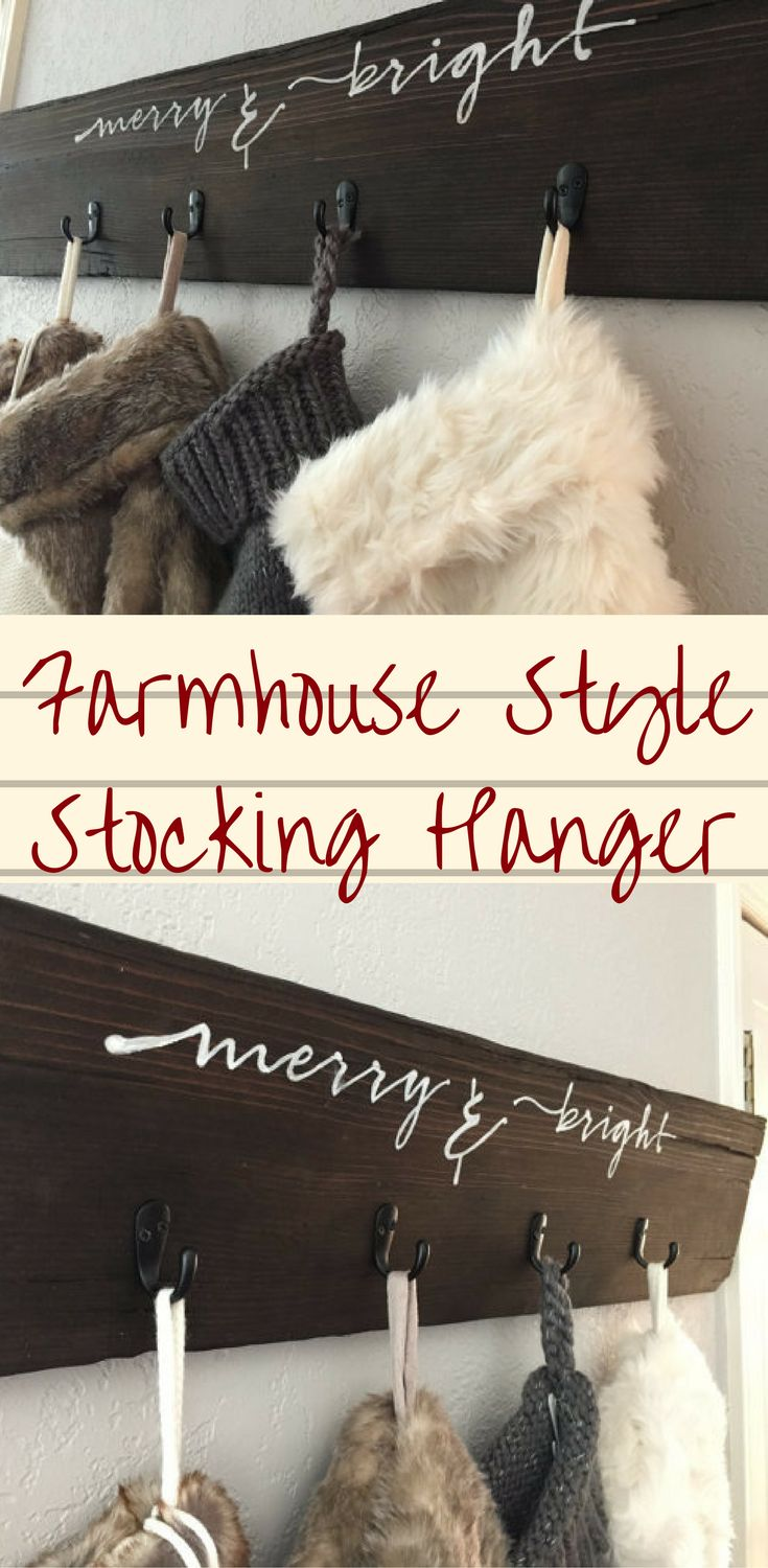 Farmhouse Style Merry & Bright Christmas Stocking Hanger #christmas #ad #stocking #hanger #farmhousestyle #merry&bright