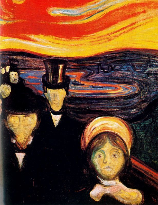 Anxiety - Edvard Munch (expressionisme)   Dit schilderij lijkt op 'De Schreeuw'. Niet alleen de manier waar op het is geschilderd, maar ook de kleuren (oranje tinten in de lucht, blauw water, lichte gezichten en donkere kleding) lijken op de kleuren van 'De Schreeuw'. Door dit kleurgebruik (donkere kleuren) lijkt het thema ook met depressie te maken te hebben.