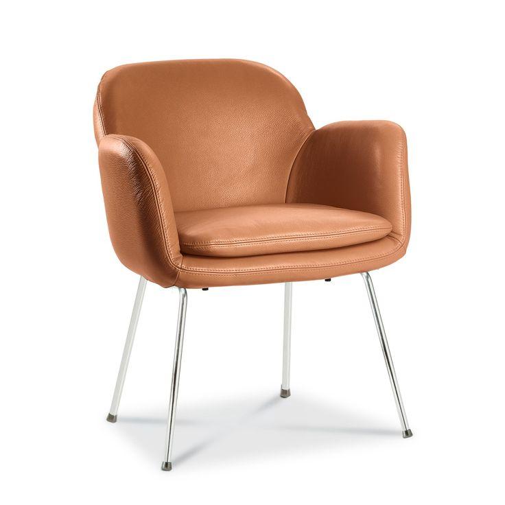 Stuhl LONZO, cognac  Metall verchromt - 16280701 0