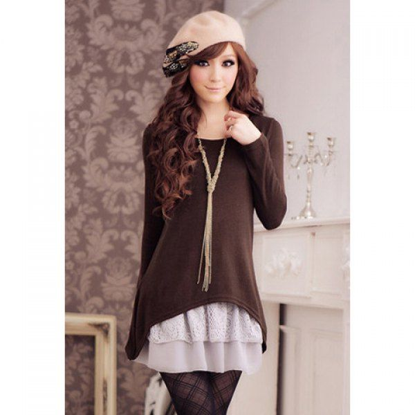 Wholesale Sweet Scoop Neck Lace Splicing Long Sleeve Women's Dress With T-Shirt Only $6.95 Drop Shipping   TrendsGal.com