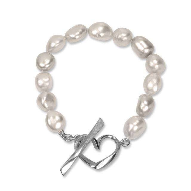 Pearl Heart Bracelet     Freshwater Baroque Pearl, sterling silver Heart Bracelet      $395
