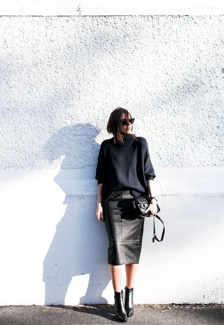 #knit & #leather #skirt #streetstyle #fashion