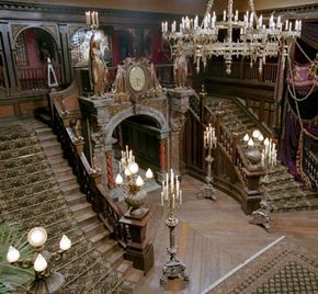 Inside Abandoned Mansions | At the top center of upstairs balcony would be a big picture of ...